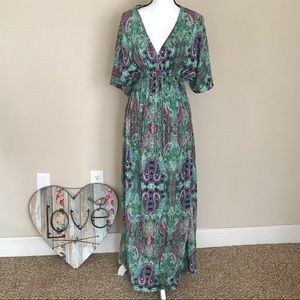 WORLD MARKET Paisley Kaftan Mira Dress S/M Boho